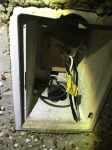 Mice gain entrance via UPC or sky cable box at side of house
